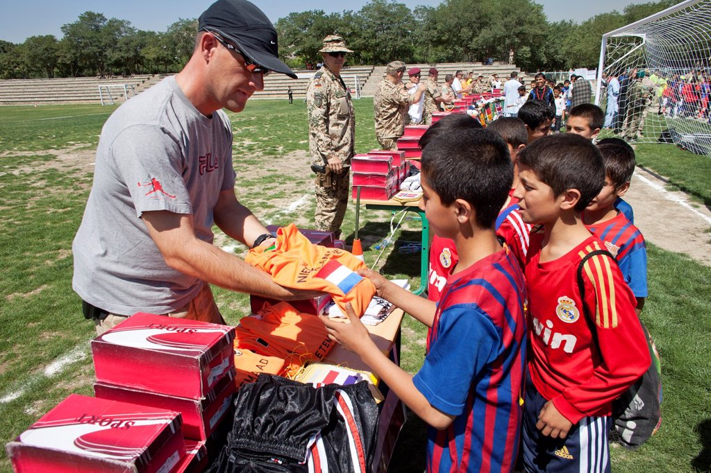 Stock Photo: 1566-1009807 The German army organised a mini world cup tournament in Kabul for Afghan children  The teams played against each other, Turkey won the mini world cup