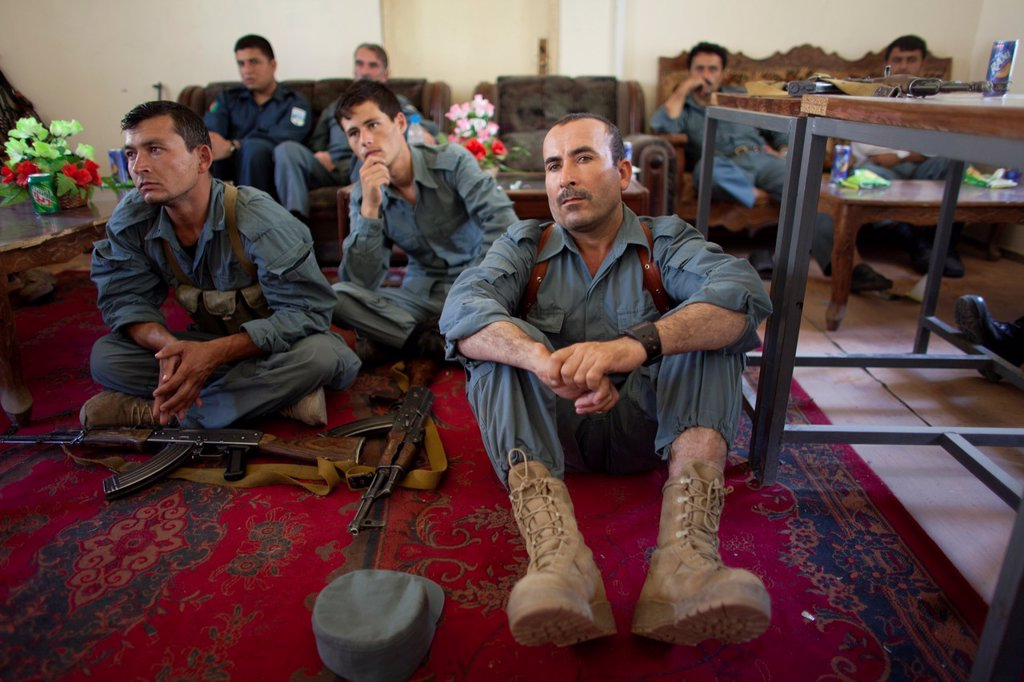 Dutch police mentors training Afghan police officers in Kunduz : Stock Photo