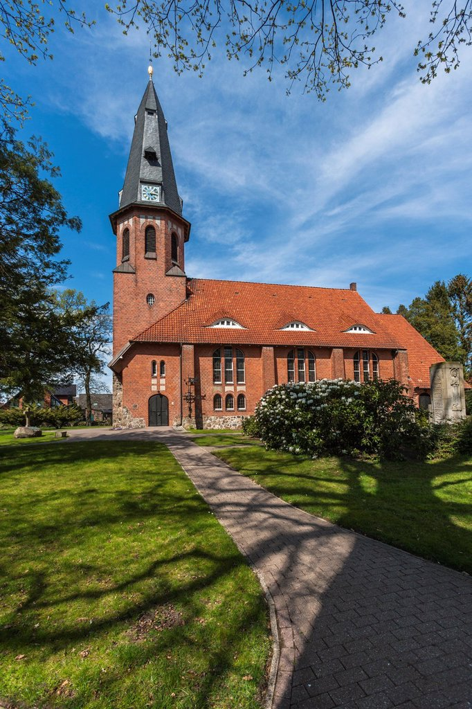 Brick church in Apensen, Lower Saxony, Germany, Europe : Stock Photo