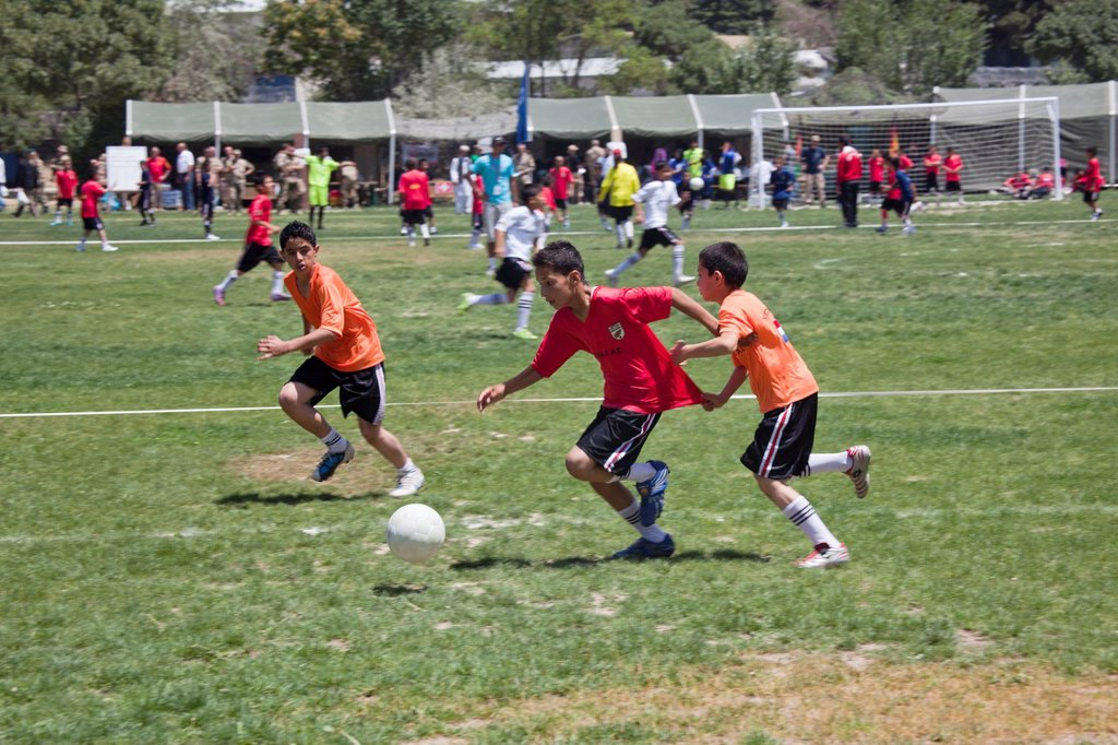Stock Photo: 1566-1010524 The German army organised a mini world cup tournament in Kabul for Afghan children  The teams played against each other, Turkey won the mini world cup