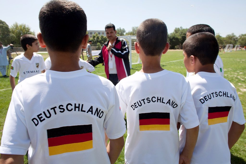 Stock Photo: 1566-1010525 The German army organised a mini world cup tournament in Kabul for Afghan children  The teams played against each other, Turkey won the mini world cup