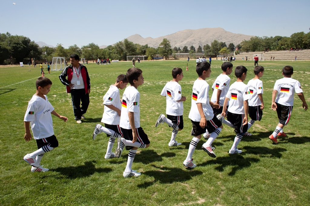 Stock Photo: 1566-1010526 The German army organised a mini world cup tournament in Kabul for Afghan children  The teams played against each other, Turkey won the mini world cup