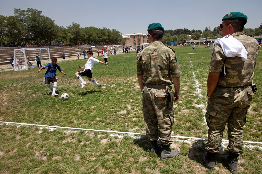 Stock Photo: 1566-1010529 The German army organised a mini world cup tournament in Kabul for Afghan children  The teams played against each other, Turkey won the mini world cup