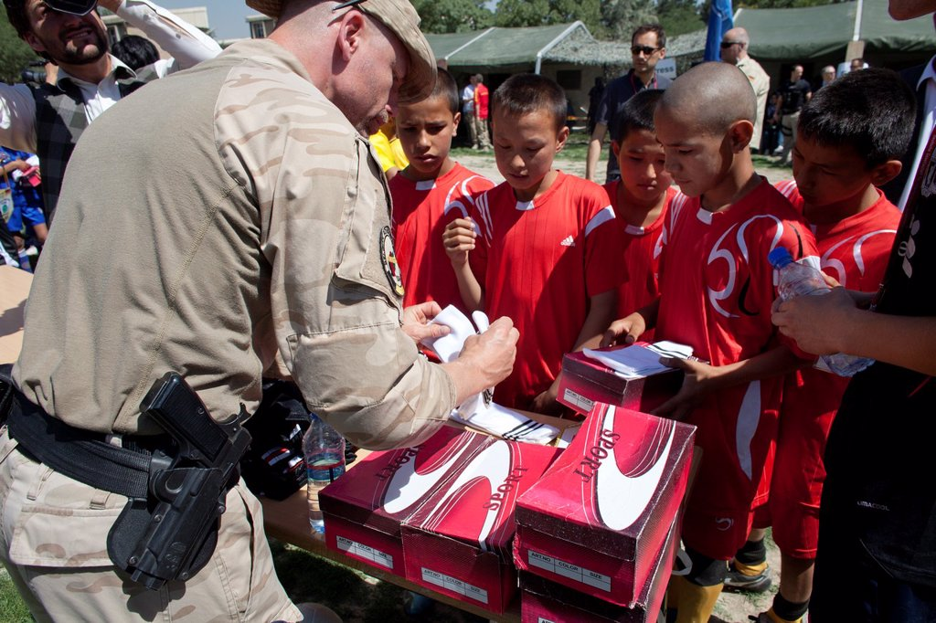 Stock Photo: 1566-1010532 The German army organised a mini world cup tournament in Kabul for Afghan children  The teams played against each other, Turkey won the mini world cup