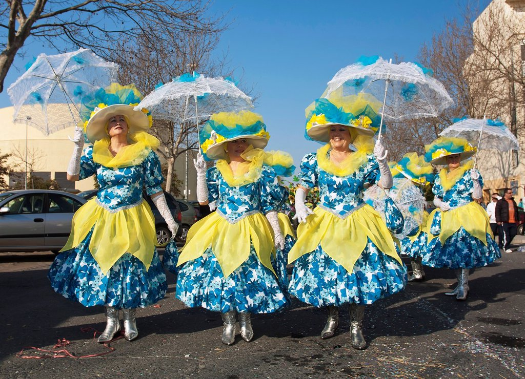 Stock Photo: 1566-1010795 Carnival  Women disguised  Isla Cristina  Huelva-province  Spain