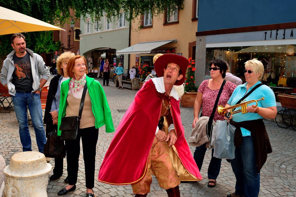 The Trompeter of Bad Saeckingen, literary figure of Joseph Victor von Scheffel, lives for tourists still : Stock Photo