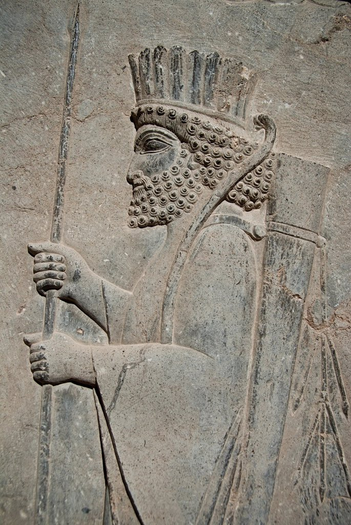 Stock Photo: 1566-1010880 Persian soldier relief, Persepolis, Shiraz, Iran