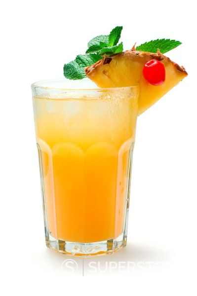 Stock Photo: 1566-1011336 Cocktail, Festival Jan Becher liqueur, pineapple juice, amaretto, soda, syrup, lime juice
