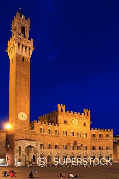 Stock Photo: 1566-1011773 Italy, Tuscany, Siena, Piazza del Campo, Palazzo Pubblico, La Torre del Mangia, 102 m