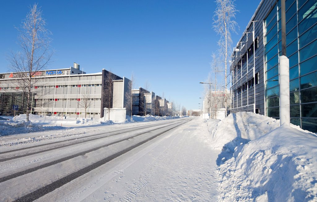 Oulun teknologiakylä, Oulu Technology Park, Linnanmaa  Premises of various Finnish high-tech companies like Nokia, Tieto, Sonera etc  Location Elektroniikkatie Linnanmaa Oulu Finland Scandinavia Europe : Stock Photo