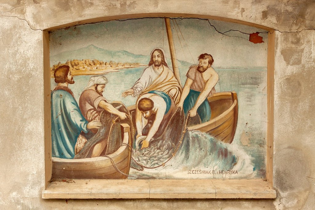 Stock Photo: 1566-1012204 Bibical scenes painted on the fence surrounding church in Szczalb village Lukow county, Poland