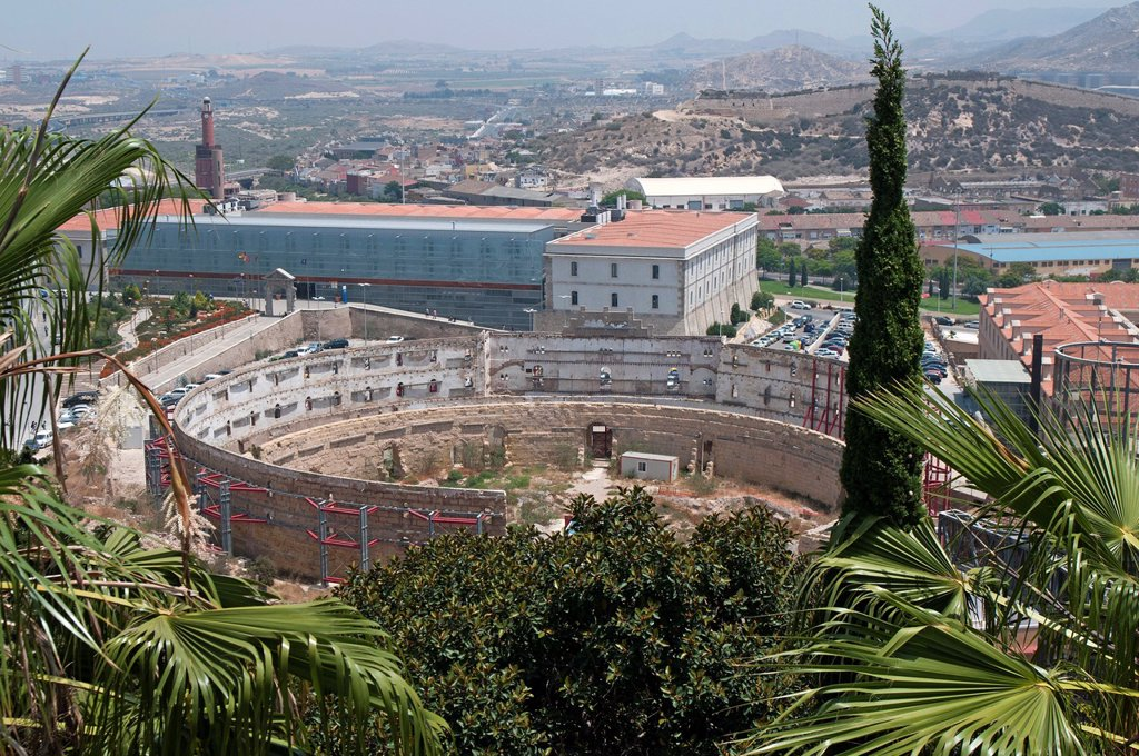 Stock Photo: 1566-1012748 View from Conception Hill shows the remains of Cartagena´s Bull Ring, Murcia, Spain