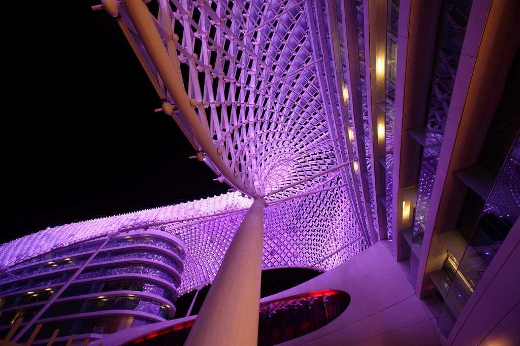 Stock Photo: 1566-1013026 Architectural detail of the Yas Viceroy Hotel, Abu Dhabi, United Arab Emirates