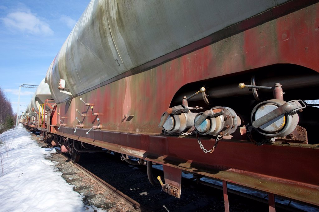 Train´s chemical transport tanks  Location Suonenjoki Finland Scandinavia Europe : Stock Photo