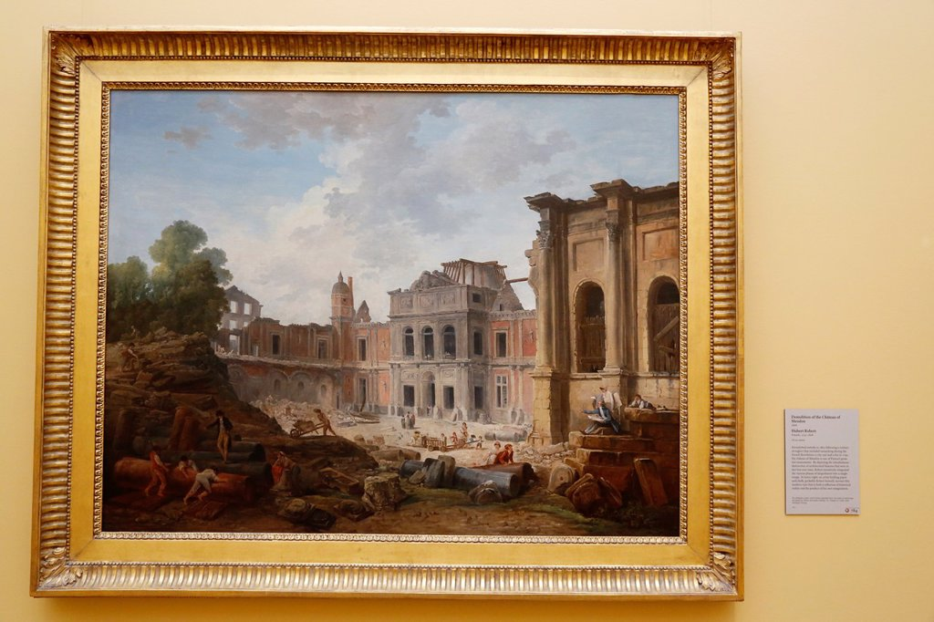 USA, California, city of Los Angeles, Getty Center Museum, Meudon castle being demolished by french artist Hubert Robert // Etats-Unis, Californie, Ville de Los Angeles, Musee du Centre Getty, le chateu de Meudon endemolition par le peintre francais Huber. USA, California, city of Los Angeles, Getty Center Museum, Meudon castle being demolished by french artist Hubert Robert // Etats-Unis, Californie, Ville de Los Angeles, Musee du Centre Getty, le chateu de Meudon endemolition par le peintre fr : Stock Photo