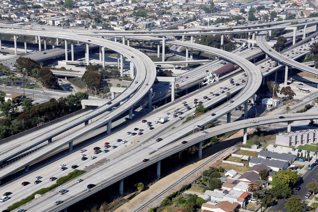 Stock Photo: 1566-1013901 USA, California, city of Los Angeles, aerial photography, interstate 101 and Santa Monica freeways intersection // Etats-Unis, Californie, Ville de Los Angeles, vue aerienne de l´echangeur des autoroutes 101 et Santa Monica