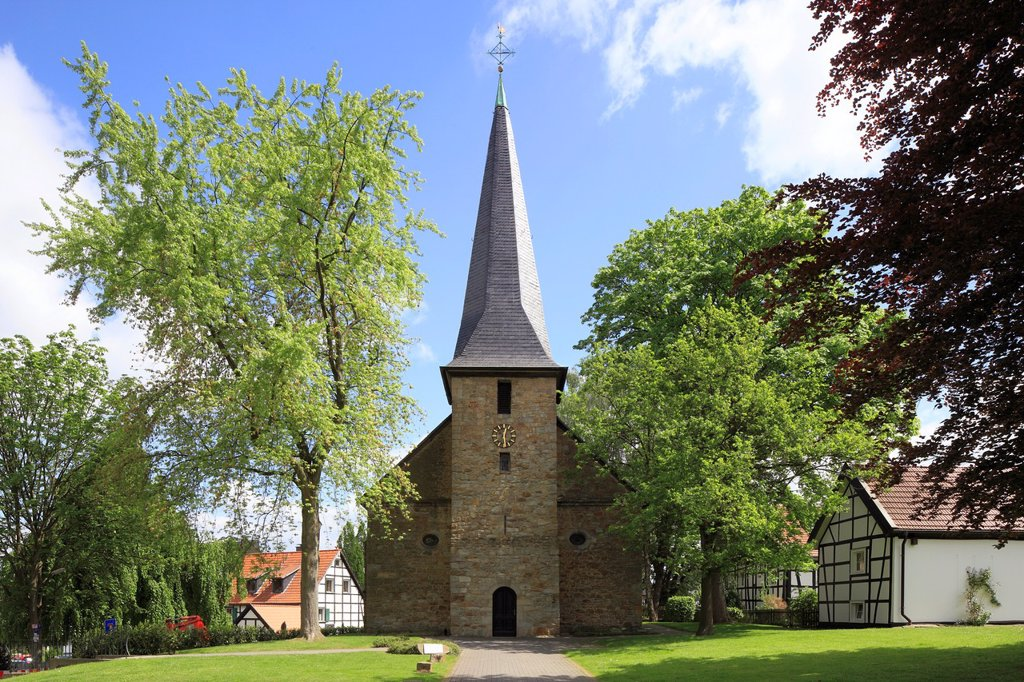 D-Dortmund, Ruhr area, Westphalia, North Rhine-Westphalia, NRW, D-Dortmund-Bodelschwingh, evangelic church, aisleless church, Gothic : Stock Photo