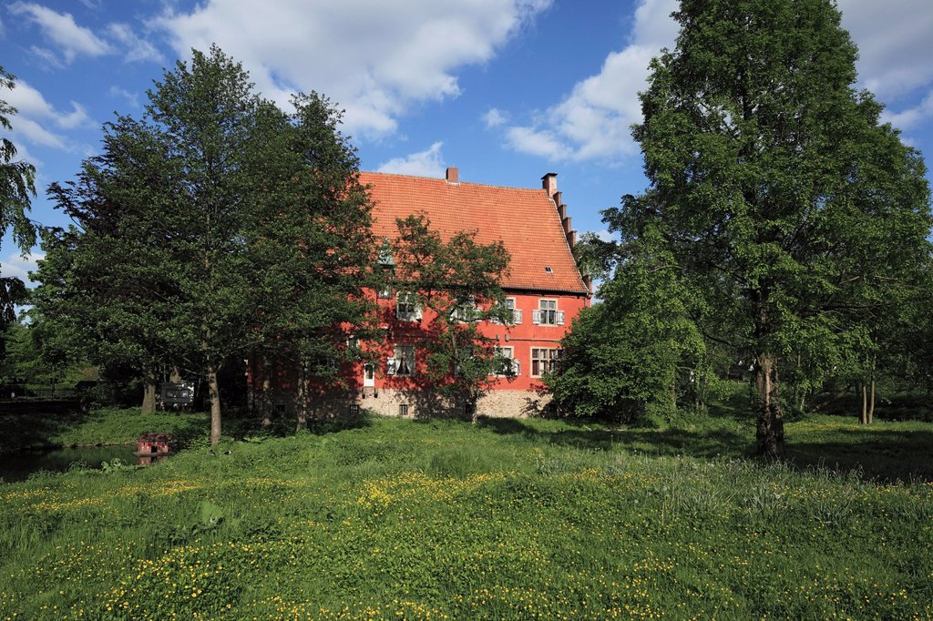 D-Dortmund, Ruhr area, Westphalia, North Rhine-Westphalia, NRW, D-Dortmund-Lanstrop, house Wenge, manor house, aristocratic estate, Middle Ages, Gothic : Stock Photo