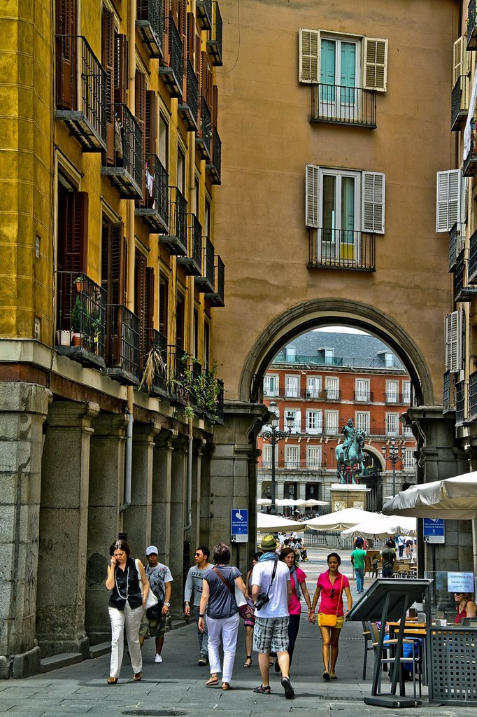 Stock Photo: 1566-1014679 Entrance to Plaza Mayor Square, Madrid, Spain