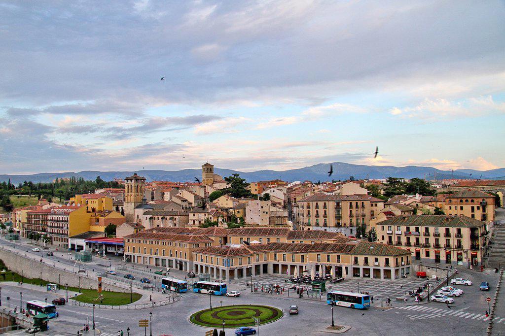 Stock Photo: 1566-1014710 Panoramic of Segovia, Castile La Mancha, Spain