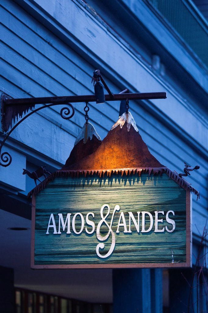 Canada, British Columbia, Whistler, Whistler Village, Amos and Andes restaurant and bar, sign : Stock Photo