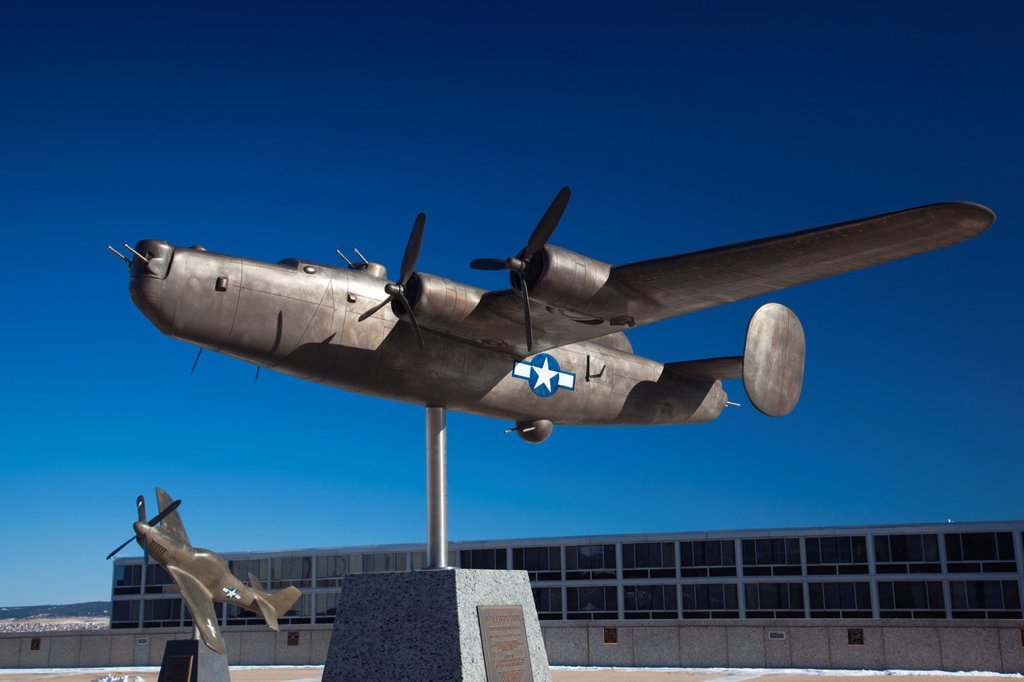 Stock Photo: 1566-1015005 USA, Colorado, Colorado Springs, United States Air Force Academy, sculpture of World War Two-era B-24 Liberator bomber