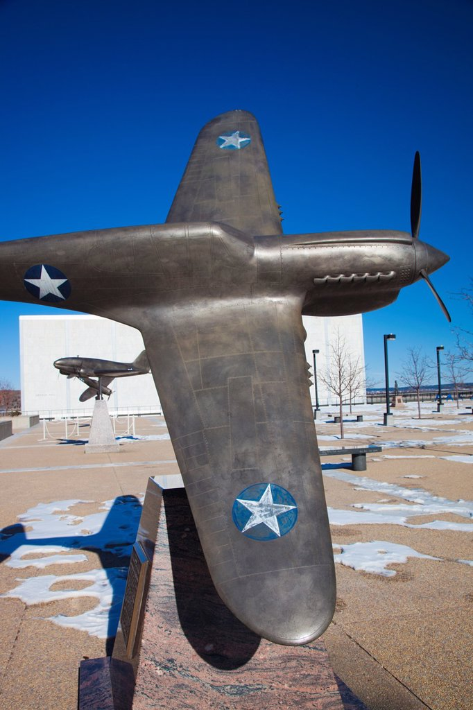 USA, Colorado, Colorado Springs, United States Air Force Academy, sculpture of World War Two-era P-40 Tiger Shark fighter : Stock Photo