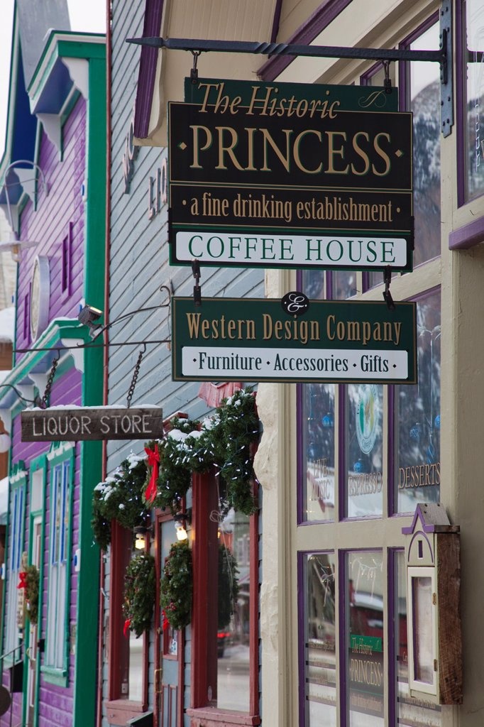 Stock Photo: 1566-1015049 USA, Colorado, Crested Butte, sign of the Princess Coffee House