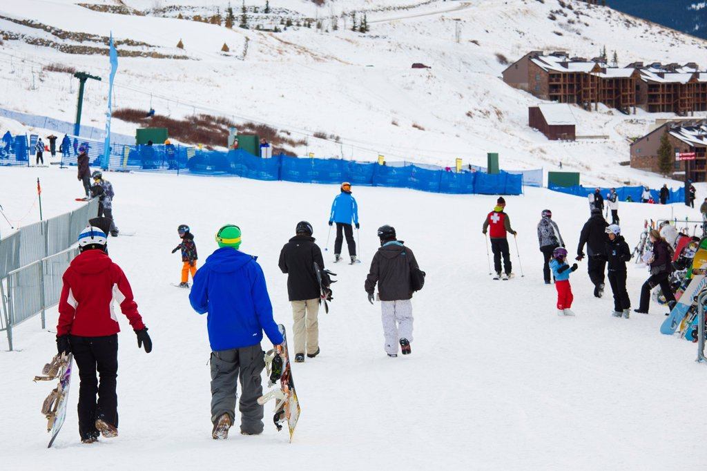 USA, Colorado, Crested Butte, Mount Crested Butte Ski Village, skiers, NR : Stock Photo
