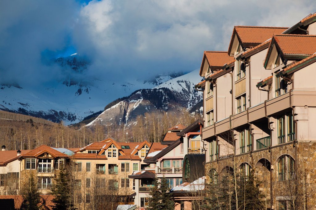 USA, Colorado, Telluride, Mountain Village Ski Area buildings : Stock Photo
