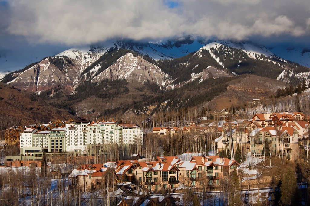 Stock Photo: 1566-1015084 USA, Colorado, Telluride, elevated view of Mountain Village Ski Area and The Peaks Resort, late afternoon