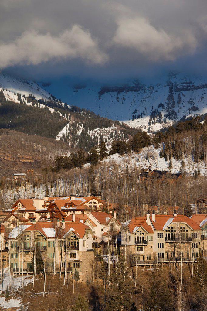 Stock Photo: 1566-1015085 USA, Colorado, Telluride, elevated view of Mountain Village Ski Area