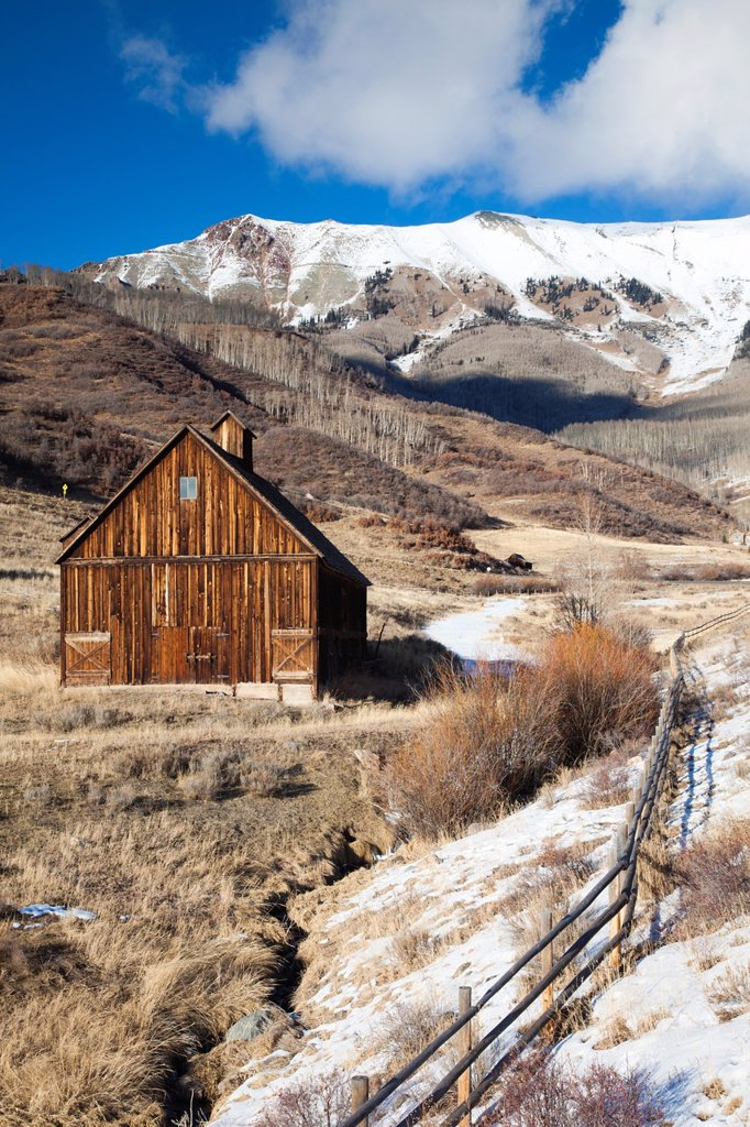 USA, Colorado, Telluride, wood barns, winter : Stock Photo