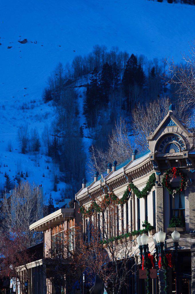 Stock Photo: 1566-1015106 USA, Colorado, Aspen, downtown buildings, morning