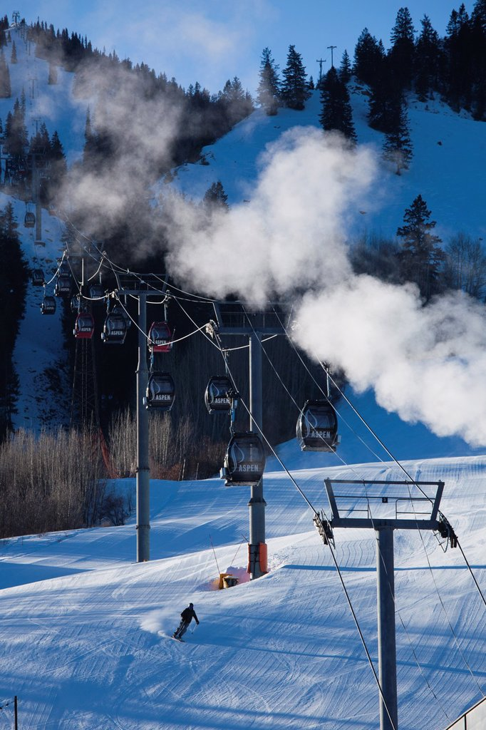 USA, Colorado, Aspen, Aspen Mountain Ski Area, Silver Queen Gondola : Stock Photo