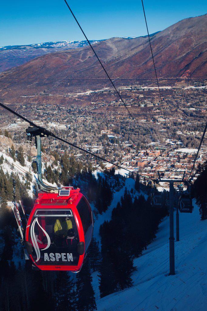 USA, Colorado, Aspen, Aspen Mountain Ski Area, Silver Queen Gondola : Stock Photo