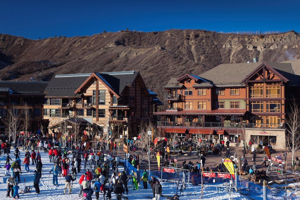 USA, Colorado, Snowmass Village, Snowmass Village Ski Area : Stock Photo