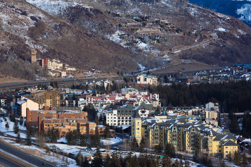 Stock Photo: 1566-1015139 USA, Colorado, Vail, elevated town and resort view, dusk, winter