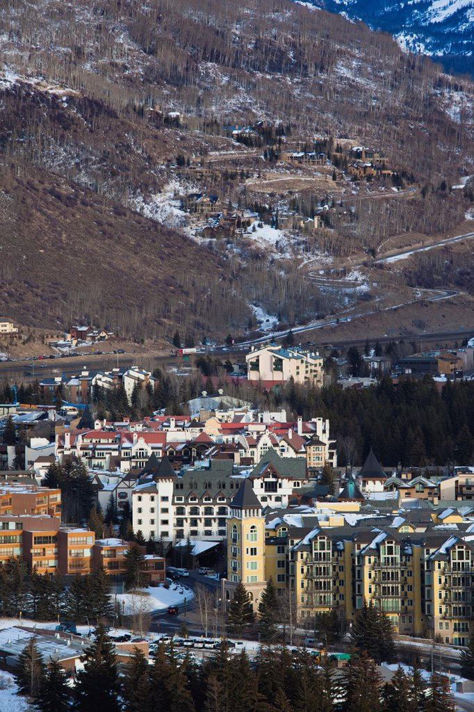 Stock Photo: 1566-1015140 USA, Colorado, Vail, elevated town and resort view, dusk, winter