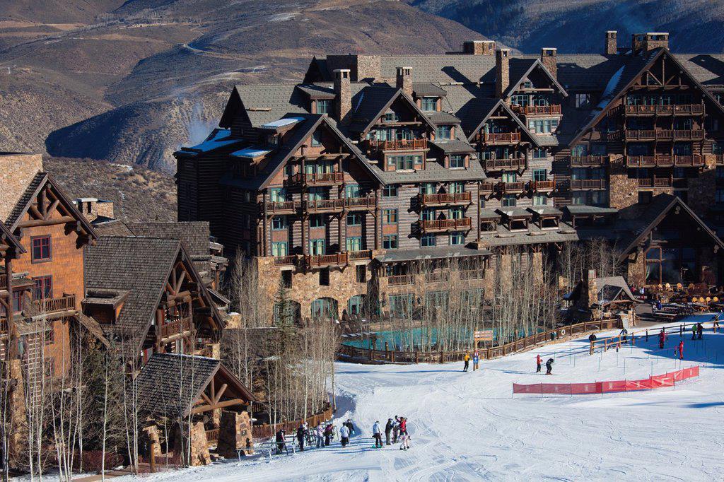 USA, Colorado, Beaver Creek, Ritz Carlton Hotel, elevated view : Stock Photo