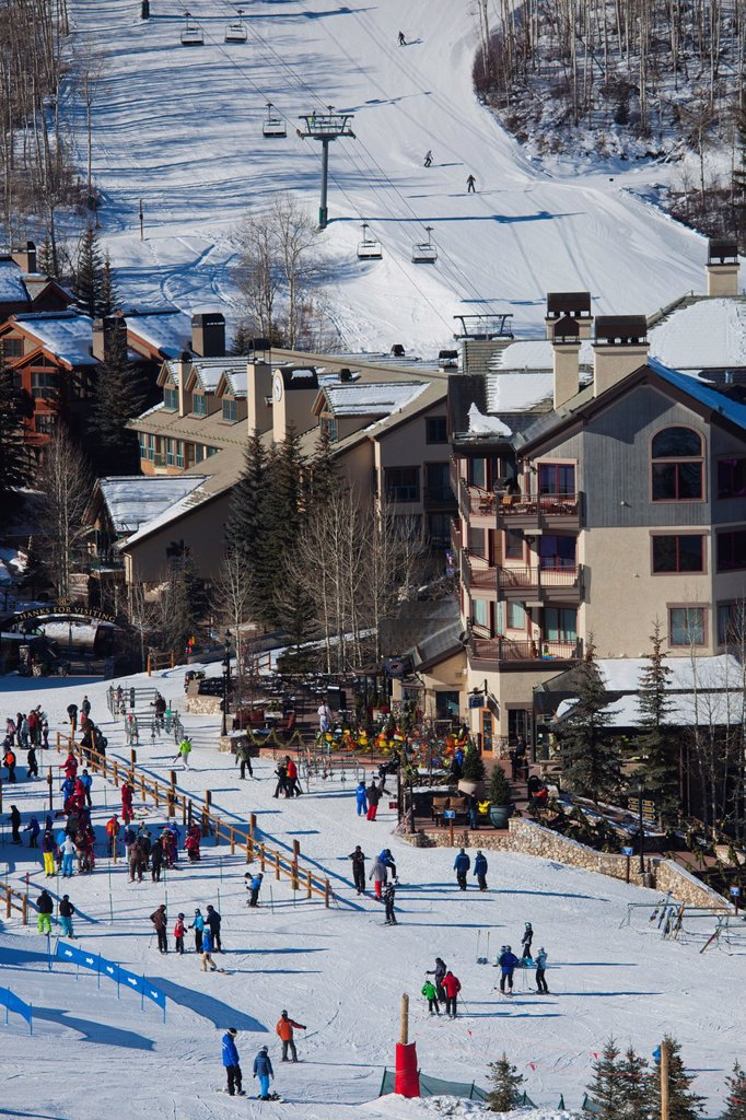 Stock Photo: 1566-1015146 USA, Colorado, Beaver Creek, Beaver Creek Ski Resort, elevated view, winter