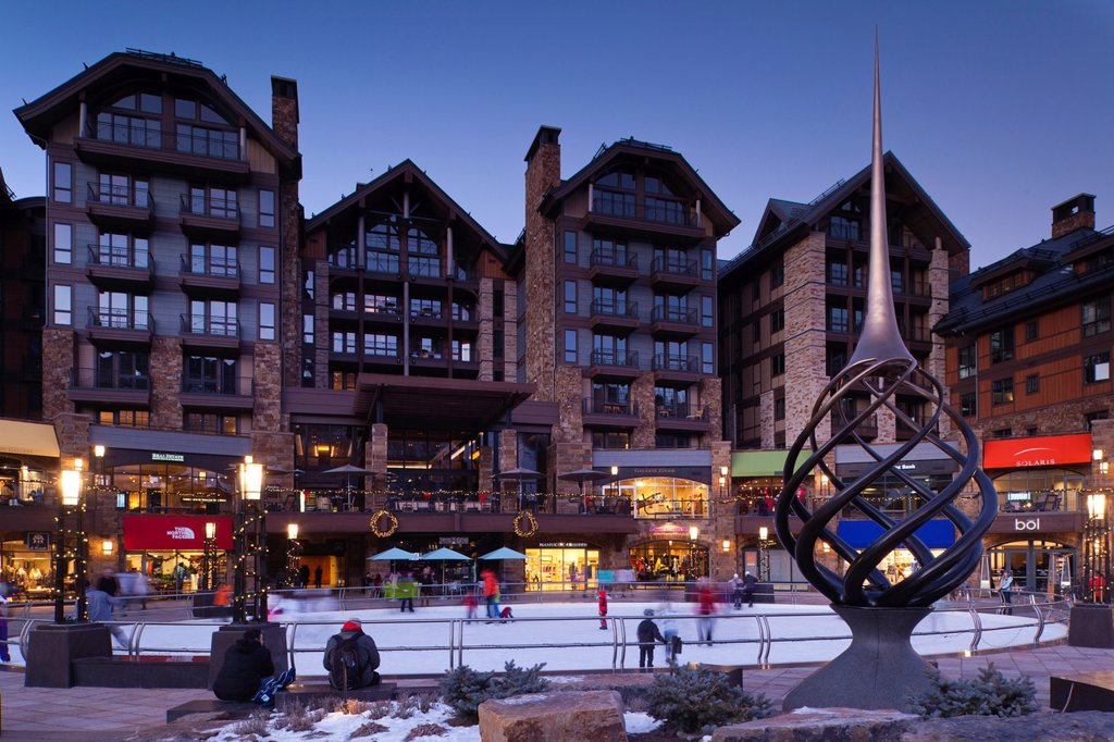 USA, Colorado, Vail, Vail Village Ice Rink at The Lionshead Complex, dusk : Stock Photo