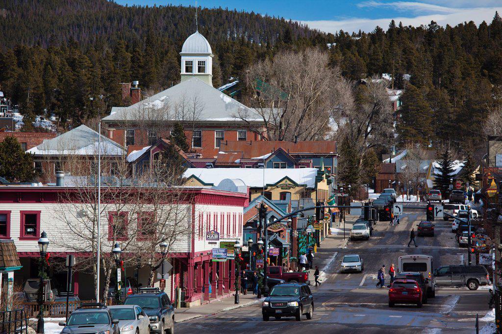 USA, Colorado, Breckenridge, town view, Lincoln Street : Stock Photo