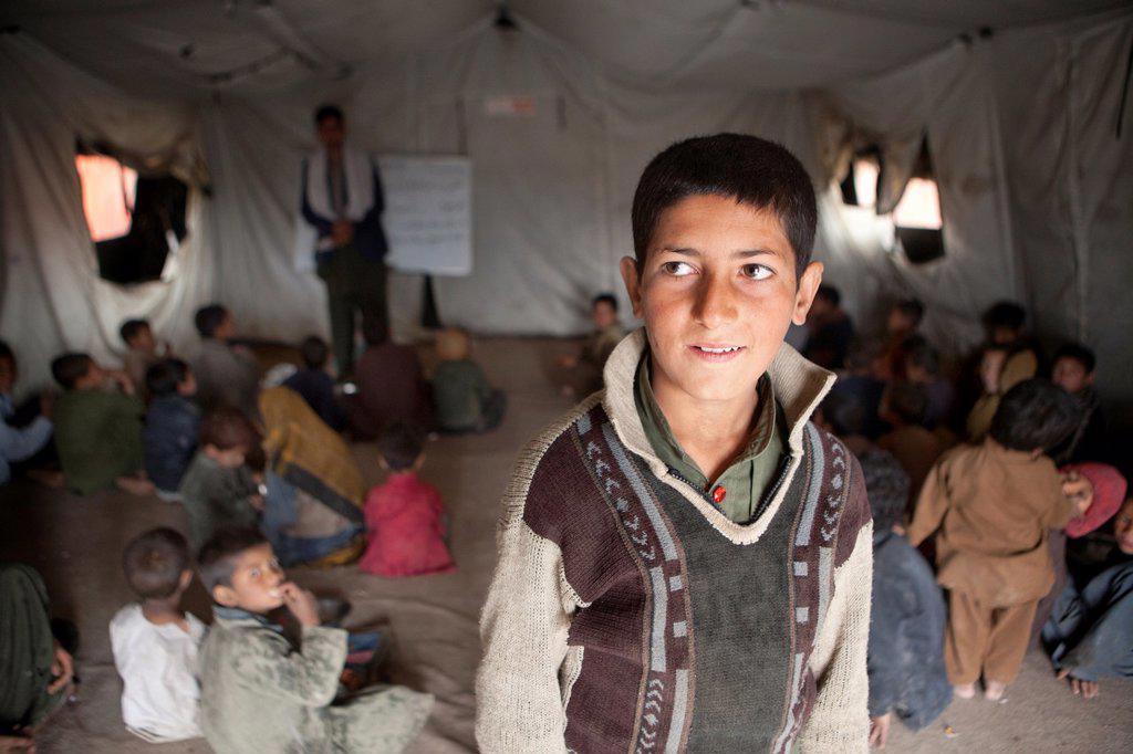 tented school in a slum in Kabul : Stock Photo