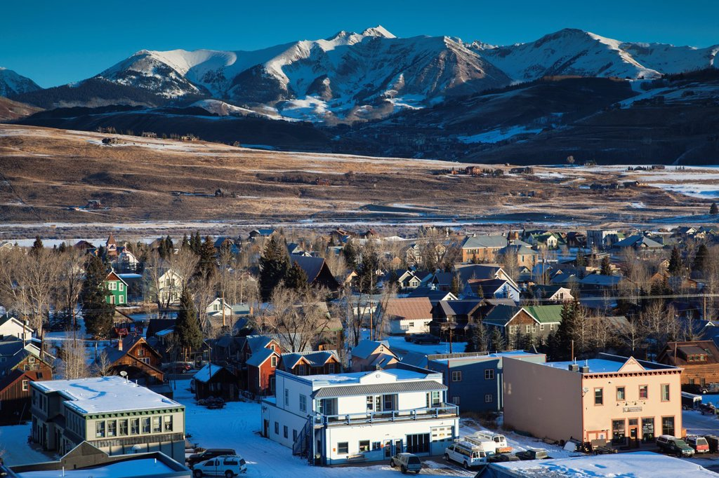 Stock Photo: 1566-1015786 USA, Colorado, Crested Butte, elevated town view, morning