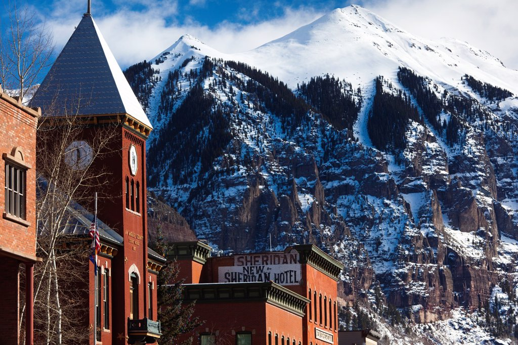 USA, Colorado, Telluride, Main Street buildings : Stock Photo
