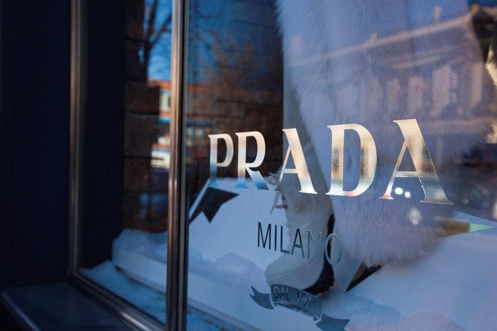 USA, Colorado, Aspen, Prada shop window : Stock Photo