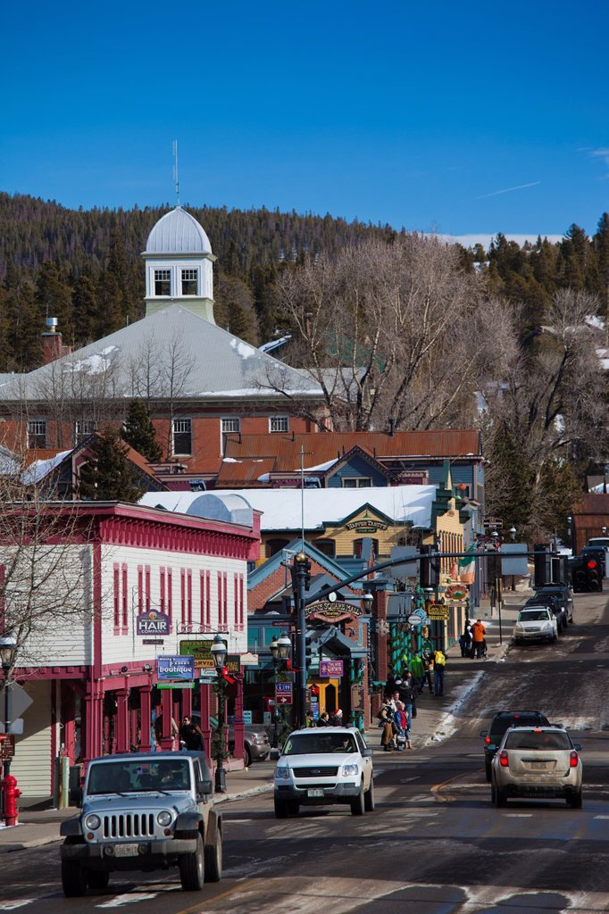 USA, Colorado, Breckenridge, town view, Lincoln Street : Stock Photo
