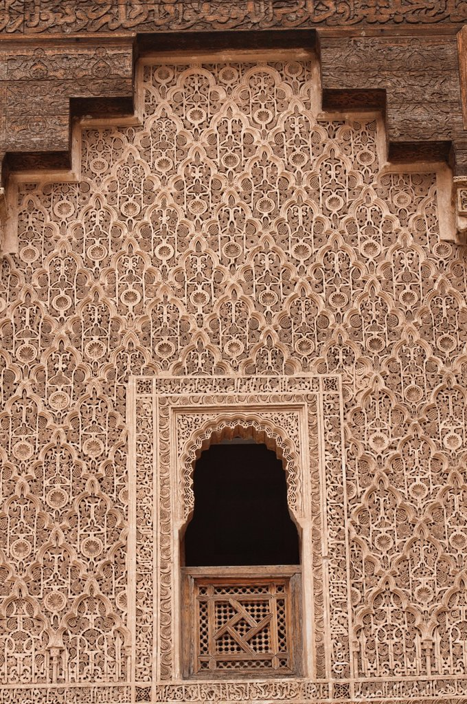 intricate design on the Ali ben Youssef Medersa in Marrakech, Morocco : Stock Photo