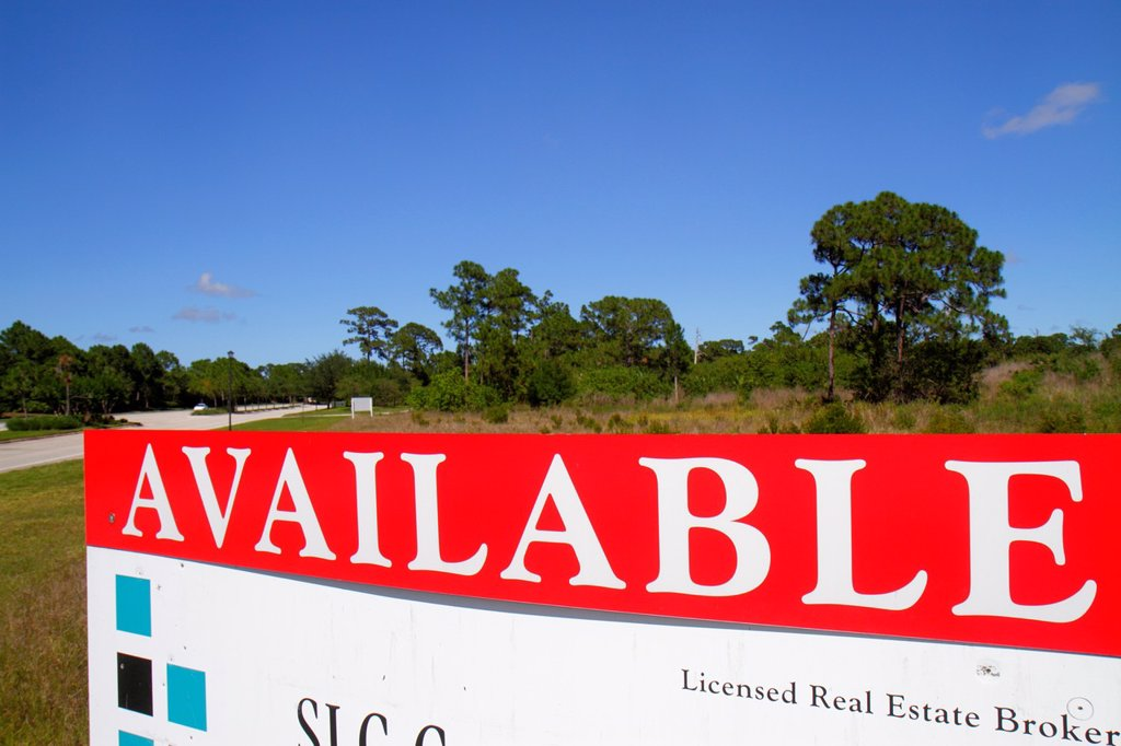 Stock Photo: 1566-1016727 Florida, Port St  Saint Lucie, PGA Village, sign, available, land, real estate, for sale,